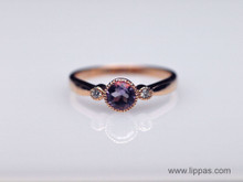 14 Karat Rose Gold Amethyst and Diamond Ring