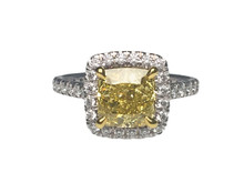 18 Karat White Gold 2.22 Carat Fancy Intense Yellow Diamond Halo Ring
