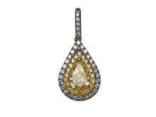 18 Karat White and Yellow Gold Double Halo Pear Shaped Yellow Diamond Pendant