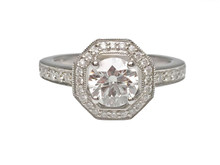 14 Karat White Gold Diamond Engagement Ring With Octagon Halo