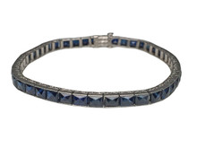 Platinum French Cut Sapphire Bracelet