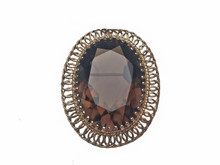 14 Karat Yellow Gold and Smokey Quartz Brooch/Pendant