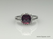 Garnet and Diamond Split Shank Ring