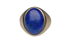 14 Karat Yellow Gold Men's Lapis Ring
