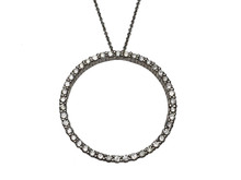 14 Karat White Gold Diamond Eternity Circle Pendant