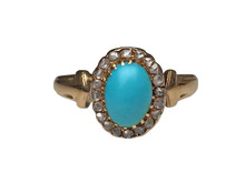 14 Karat Yellow Gold Turquoise and Rose Cut Diamond Ring