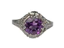10 Karat White Gold Amethyst Filigree Ring