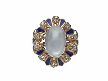 14 Karat Yellow Gold Victorian Moonstone, Diamond and Blue Enamel Cocktail Ring