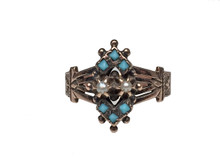 9 Karat Yellow Gold Victorian Turquoise and Pearl Antique Ring