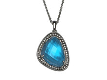 14 Karat White Gold Blue Topaz, Mother of Pearl and Diamond Pendant