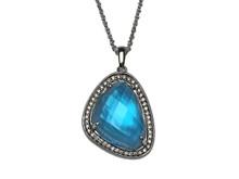 14 Karat White Gold Blue Topaz, Mother of Pearl and Diamond Pendant