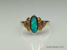 14 Karat Yellow Gold Opal Inlay Ring