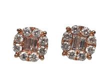 14 Karat Rose Gold Diamond Cluster Earrings