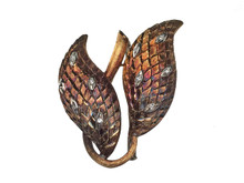 14 Karat Yellow Gold and Diamond Oxidized Leaf Brooch