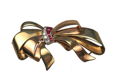 14 Karat Yellow and Rose Gold Diamond and Ruby Bow Brooch