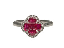 18 Karat White Gold Ruby and Diamond Cluster Ring