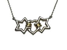 Tiffany & Co. Sterling Silver and 18 Karat Yellow Gold Heart and Stars Necklace
