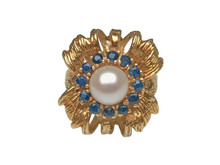 14 Karat Yellow Gold Pearl and Sapphire Flower Ring