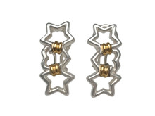Tiffany & Co. Sterling Silver and 18 Karat Yellow Gold Heart and Stars Clip Earrings