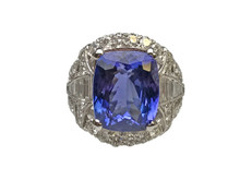 18 Karat White Gold Diamond and Tanzanite Cushion Cut Ring