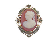 Silver Topped 18 Karat Yellow Gold and Seed Pearl Cameo Brooch/Pendant