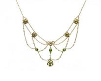Art Nouveau 14 Karat Yellow Gold Peridot and Pearl Necklace