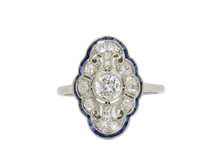 Edwardian Platinum Diamond and Sapphire Cocktail Ring