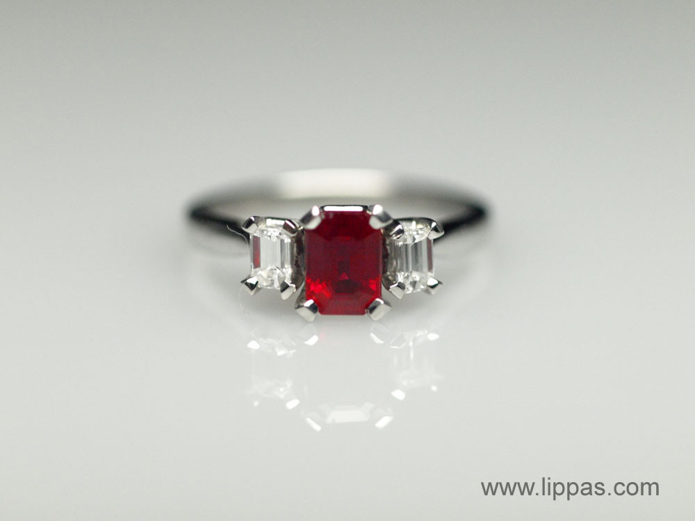Ruby Ring Emerald Cut Ruby Rings With Diamonds