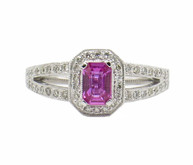 14 Karat White Gold Split Shank Pink Sapphire and Diamond Ring