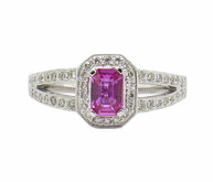 14 Karat White Gold Split Shank Pink Sapphire and Diamond Ring