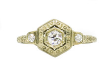 18 Karat Yellow Gold Edwardian Three Stone Diamond Ring