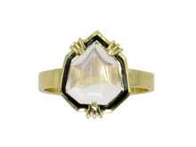 14 Karat Yellow Gold Moonstone & Black Enamel Ring