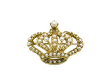 14 Karat Yelow Gold and Seed Pearl Crown Brooch