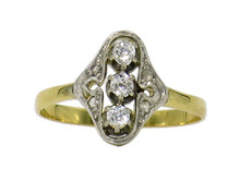 18 Karat Yellow Gold Platinum Topped Edwardian Diamond Ring