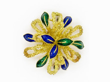 18 Karat Yellow Gold Enameled Flower Brooch