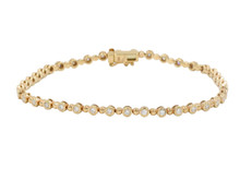 14 Karat Rose Gold Bezel Set Diamond Bracelet
