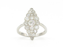 Platinum Diamond Navette Estate Ring