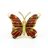 14 Karat Yellow Gold Enamel Butterfly Pin