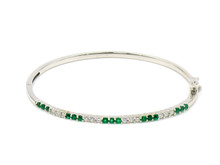 18 Karat White Gold Emerald and Diamond Bangle