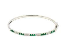 18 Karat White Gold Emerald and Diamond Bangle