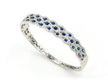 14 Karat White Gold Sapphire and Diamond Bangle