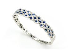 14 Karat White Gold Sapphire and Diamond Bangle