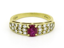 18 Karat Yellow Gold Oval Ruby and Diamond Ring