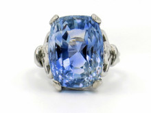 18 Karat White Gold 19.61 Carat Cushion Cut Sapphire Ring