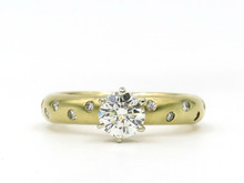 14 Karat Yellow Gold Satin Finsh Diamond Engagement Ring