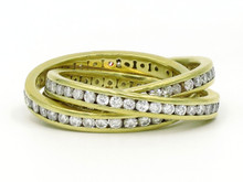 18 Karat Yellow Gold Channel Set Diamond Rolling Ring