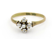 14 Karat Yellow Gold Victorian Diamond and Pearl Ring