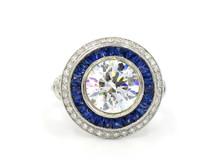 18 Karat White Gold 3 Carat Diamond and Sapphire Double Halo Ring