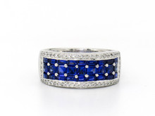 14 Karat White Gold Wide Diamond and Sapphire Band