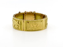 18 Karat Yellow Gold Wide Five Panel Mayan Design Bracelet
